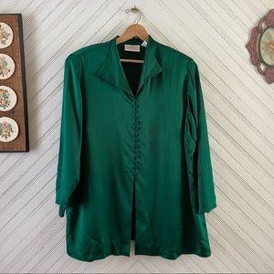 Emerald Green Silk Blouse